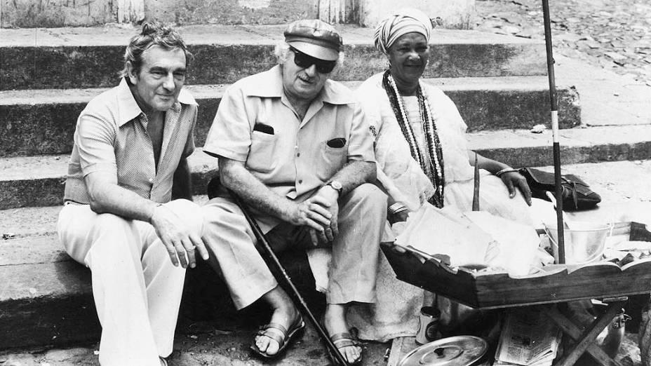 O cineasta Marcel Camus e Jorge Amado na Bahia em 1982