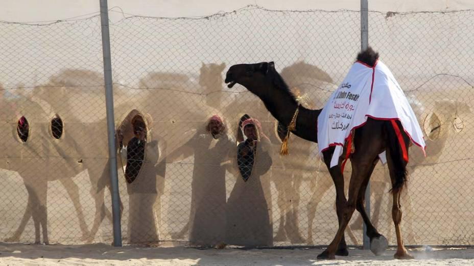 """Homens assistem festival de camelos """"Mazayin Dhafra"""" no deserto de Abu Dhabi, Emirados Árabes Unidos"""