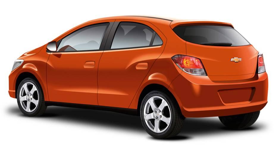 Projeção do novo Chevrolet Onix, publicada na edição de setembro da revista Quatro Rodas, mostra visual do novo hatch compacto da GM