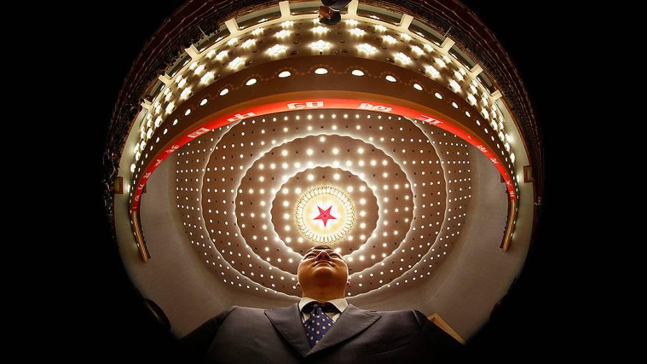 Guarda faz a segurança após discurso do presidente da China, Hu Jintao, na abertura do 18º Congresso Nacional do Partido Comunista da China