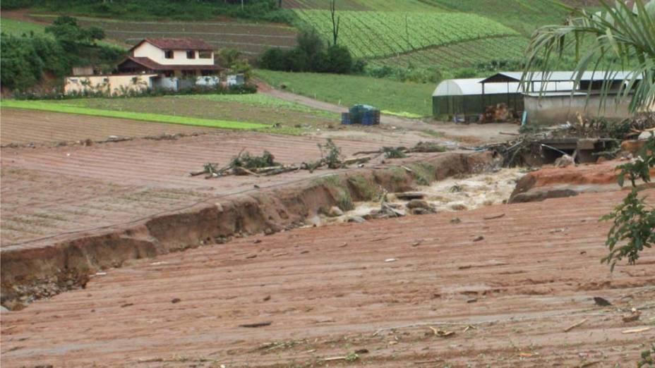 Destruição causada pelas chuvas na região de Vieiras em Teresópolis, Rio de Janeiro