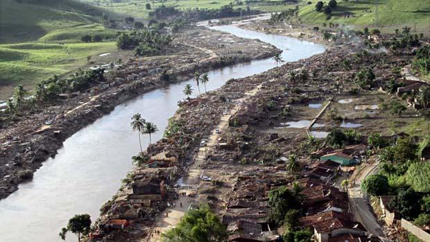 Destruição na cidade de União dos Palmares, Alagoas.