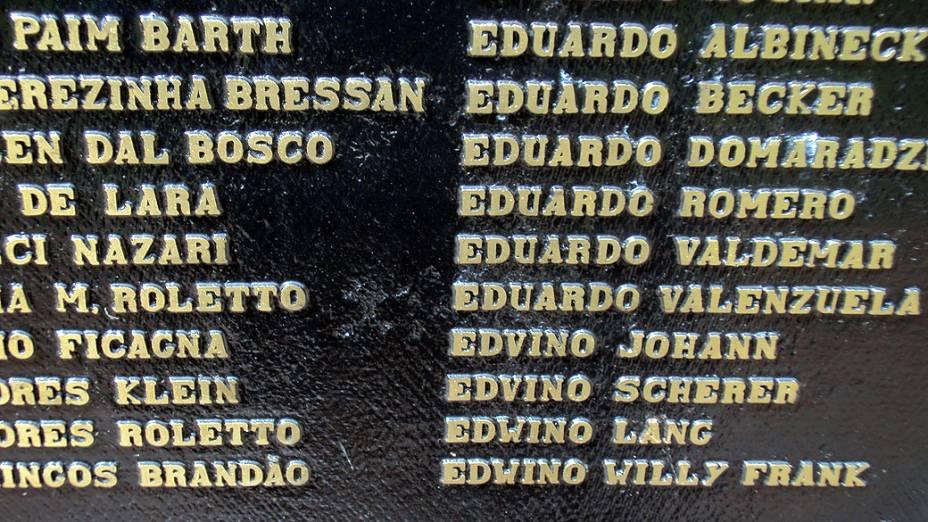 Memorial dos pioneiros de Toledo com o nome do pai de Dom Odilo, Edwino Scherer