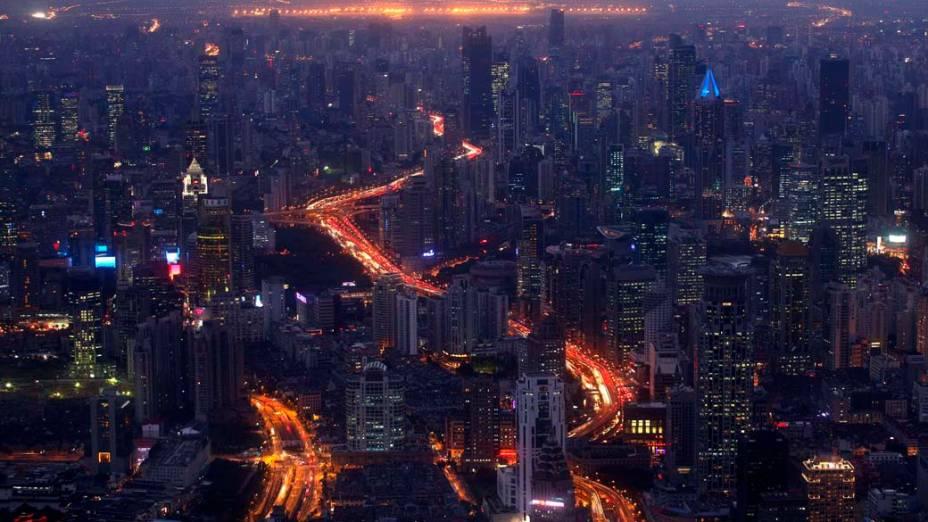 Vista aérea do centro comercial de Xangai, na China