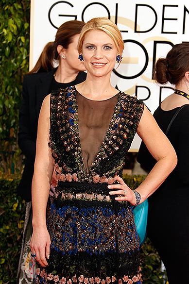 Claire Danes durante 72ª edição do Globo de Ouro, prêmio da associação de correspondentes de Hollywood que elege os melhores do cinema e da TV, em Los Angeles, nos EUA