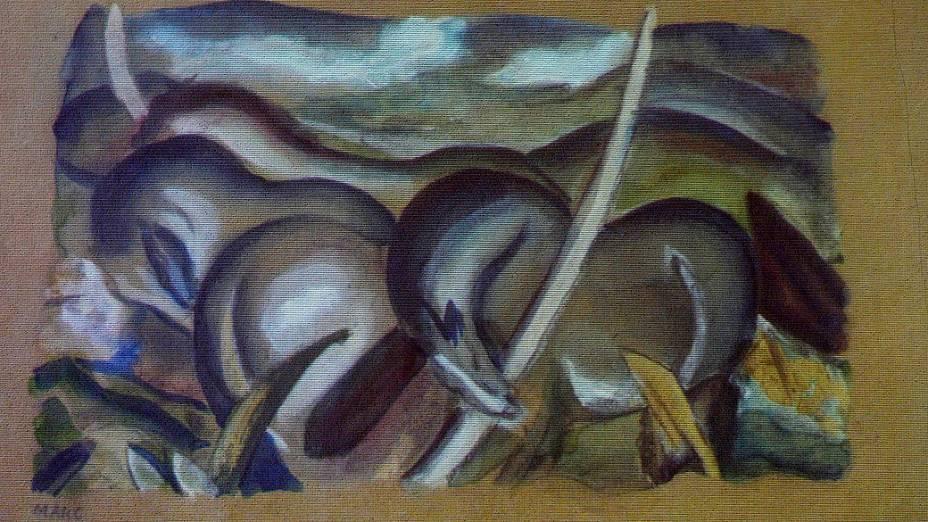 A polícia alemã recuperou 1 400 quadros entre eles obras de Picasso, Matisse, Chagall e Nolde da casa de um homem de 80 anos, em Munique. Reprodução da obra do pintor Franz Marc