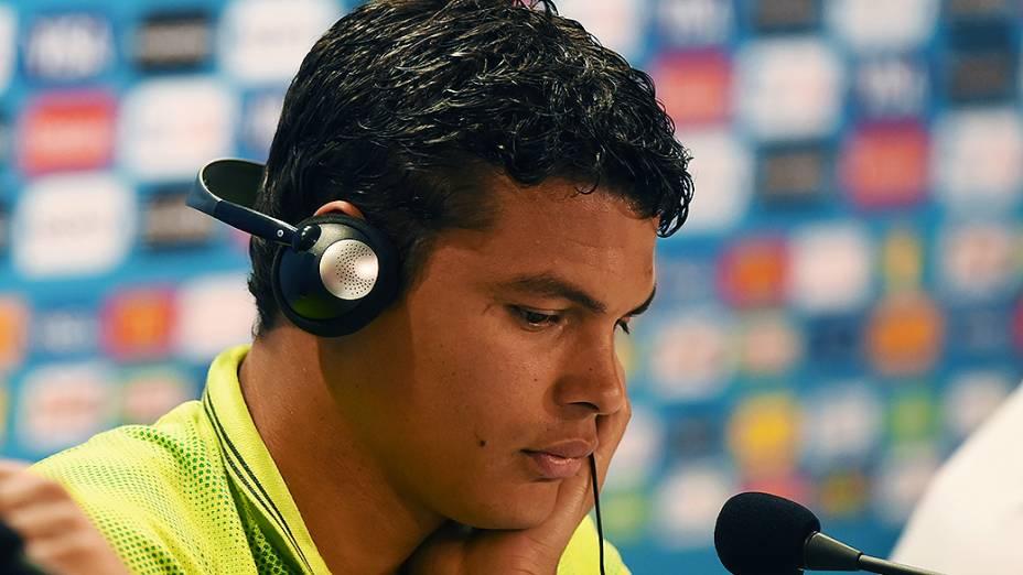 Thiago Silva durante coletiva de imprensa antes do jogo contra a Alemanha, em Belo Horizonte