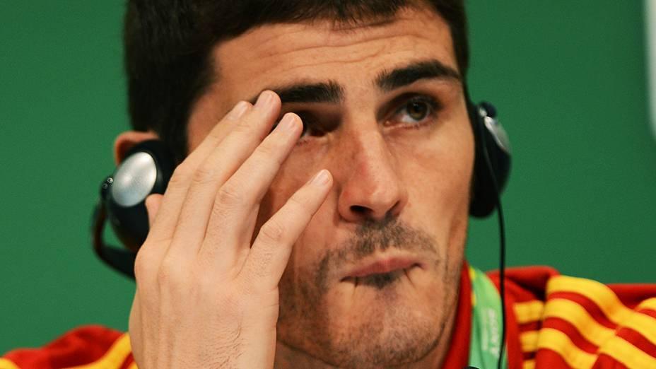 O goleiro espanhol Iker Casillas durante coletiva de imprensa, no Maracanã