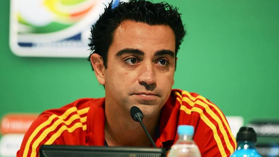 O jogador da seleção espanhola Xavi Hernández durante coletiva de imprensa, no Maracanã