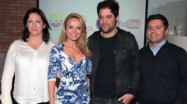 Juliana Algañaraz, diretora geral da Endemol Brasil, Eliana, Ariel Jacobowitz e Álvaro Paes de Barros, diretor de conteúdo do YouTube Brasil