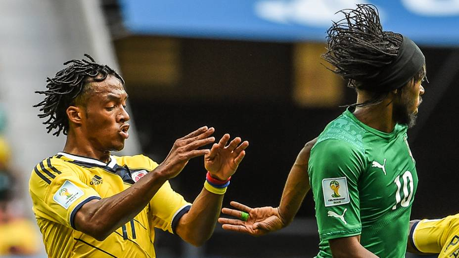 O colombiano Cuadrado e Gervinho, da Costa do Marfim