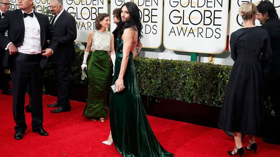 Conchita Wurst durante 72ª edição do Globo de Ouro, prêmio da associação de correspondentes de Hollywood que elege os melhores do cinema e da TV, em Los Angeles, nos EUA