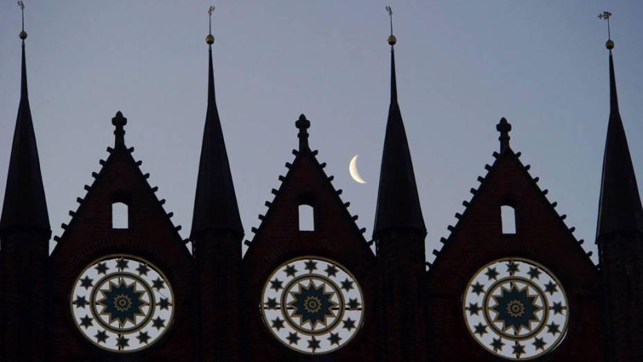 Prédio medieval que abriga a prefeitura de Stralsund, Alemanha