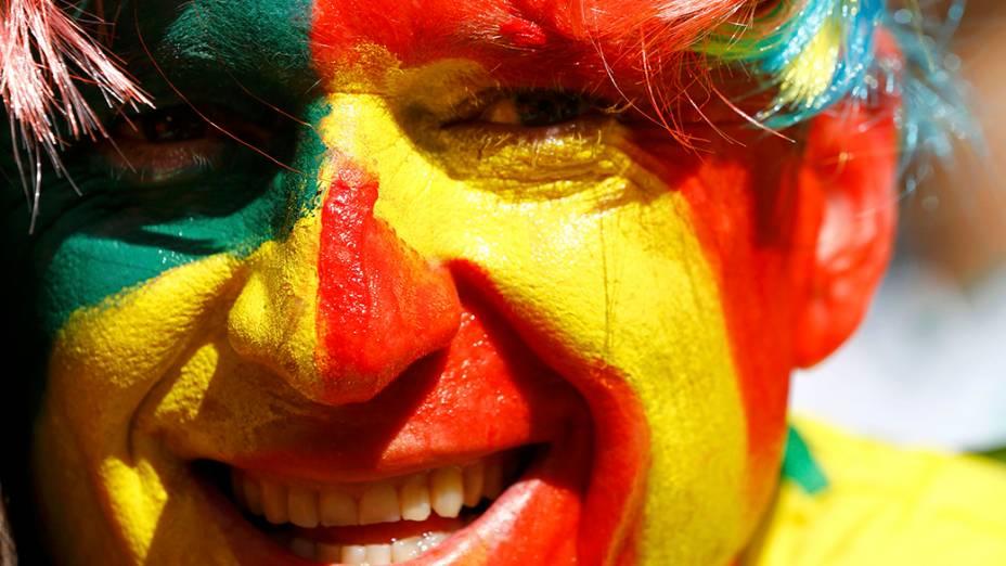 Torcedor da Espanha durante partida em Curitiba