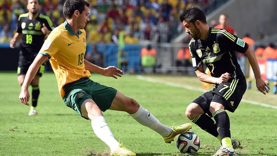 Partida entre Austrália x Espanha durante a Copa do Mundo