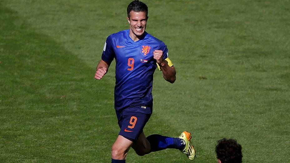 Van Persie comemora gol da Holanda durante a Copa do Mundo