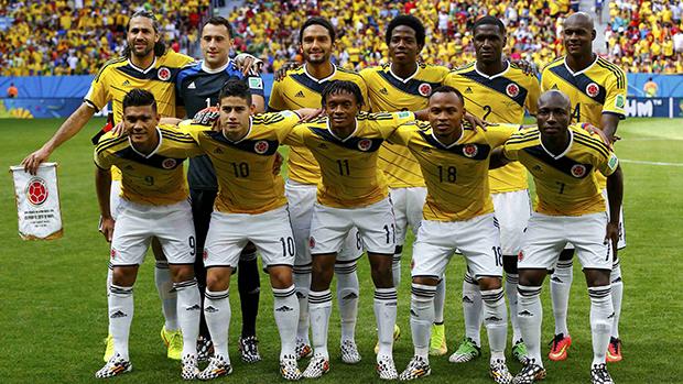 Seleção da Colômbia no início da partida em Brasília