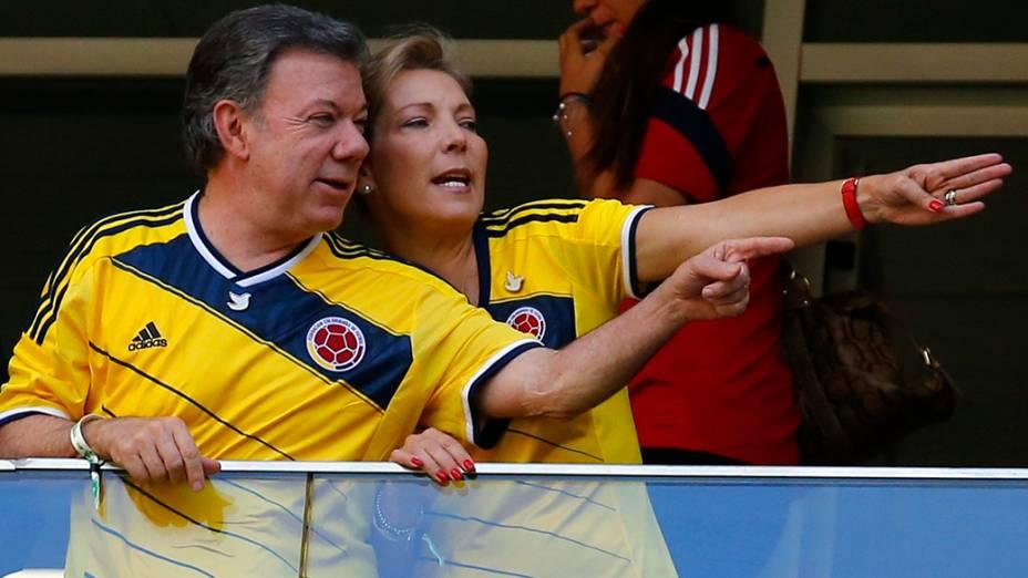 Juan Manuel Santos, presidente da Colômbia, com sua esposa