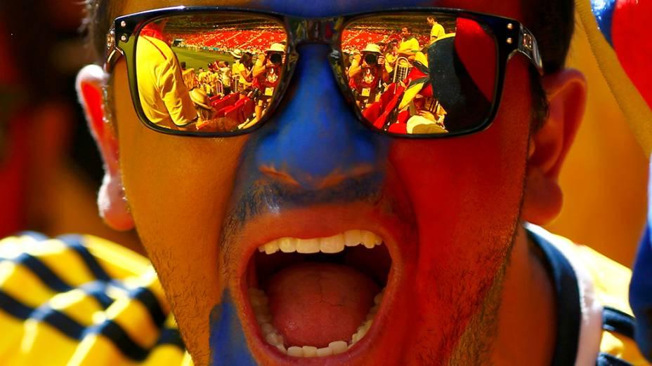 Torcedor da Colômbia durante partida contra a Costa do Marfim