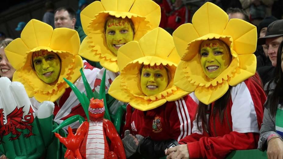 Fãs assistem a jogo da Copa do Mundo de Rúgbi, em New Plymouth, Nova Zelândia