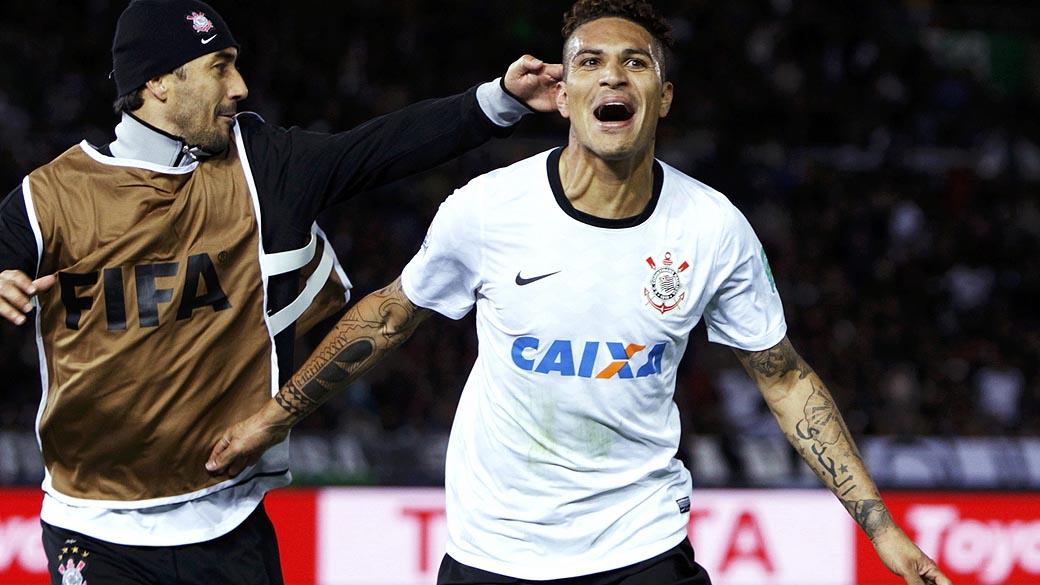 Guerrero do Corinthians comemorando o gol contra o Chelsea, durante partida válida pela final do Campeonato Mundial de Clubes da Fifa, em Yokohama