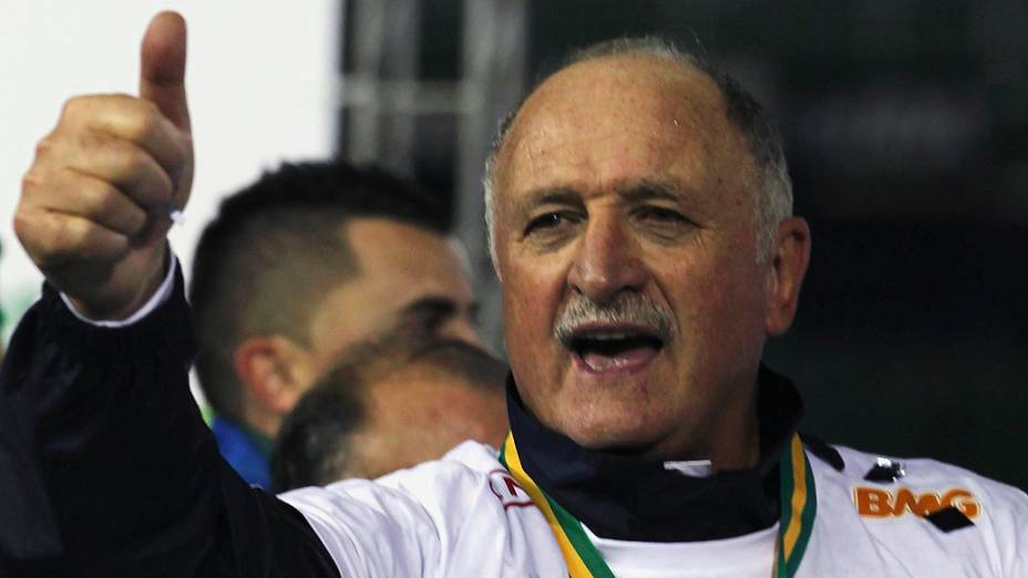Felipão comemora a conquista da Copa do Brasil de 2012, pelo Palmeiras