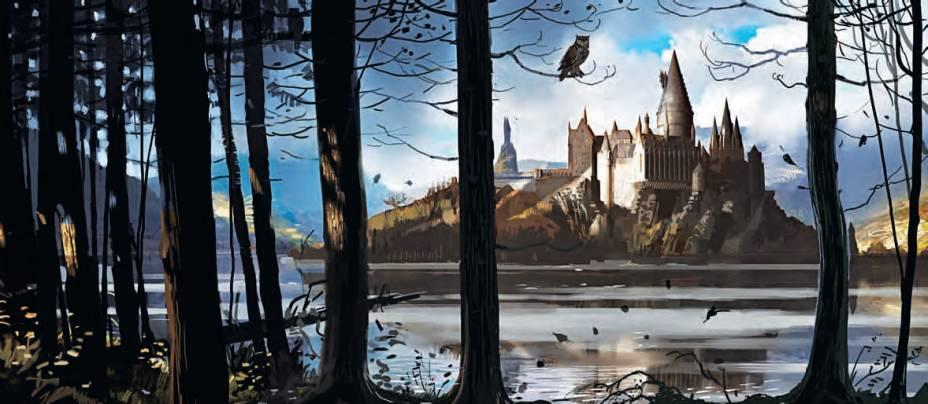 Correio-coruja e o castelo de Hogwarts, a escola de magia de Harry Potter e seus amigos. Ilustração de Rob Bliss, para o filme Harry Potter e a Ordem da Fênix (2007).