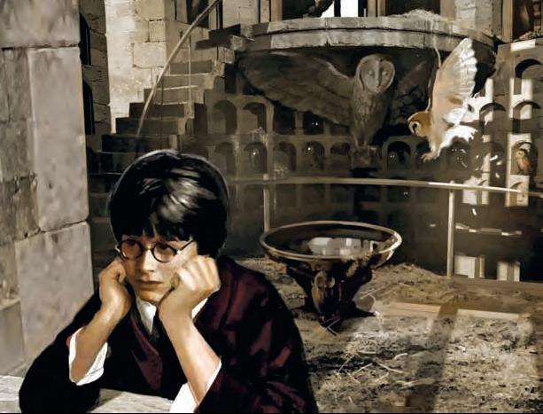Harry Potter no corujal de Hogwarts, por Andrew Williamson, para Harry Potter e o<br>Cálice de Fogo (2005).