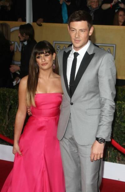 Cory Monteith e a namorada, Lea Michele, em prêmio do sindicato americano de atores, Los Angeles, janeiro de 2013
