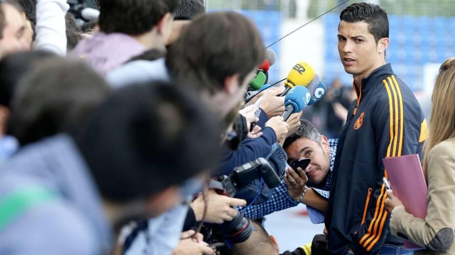 Cristiano Ronaldo no centro de treinamentos do Real Madrid, nesta terça-feira