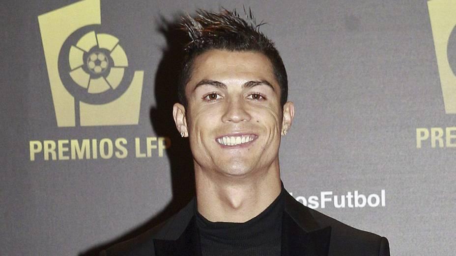 Cristiano Ronaldo, em cerimônia da Liga de Futebol Profissional, em Madri