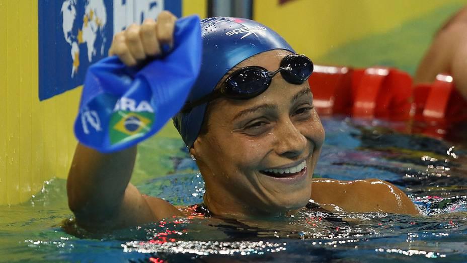 Daiene Dias durante o Campeonato Mundial FINA em Piscina Curta no Hamad Aquatic Centre. 06 de dezembro de 2014, Doha, Catar.