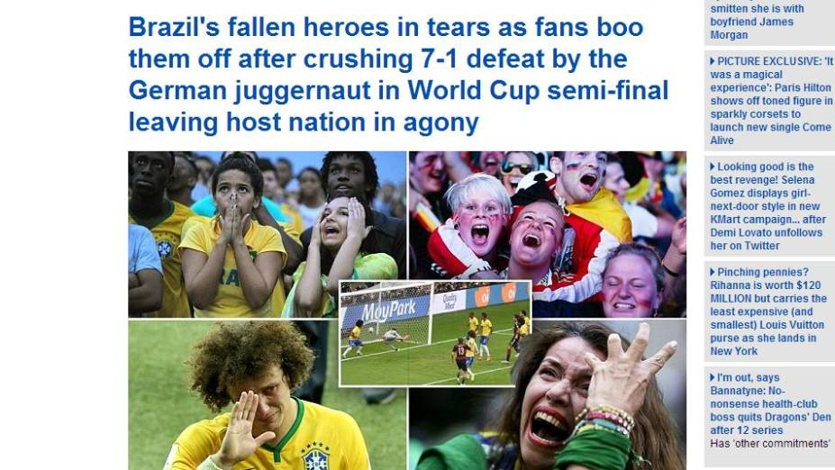 <em>Daily Mail</em>, da Inglaterra, destaca choro dos heróis derrotados e vaias dos torcedores