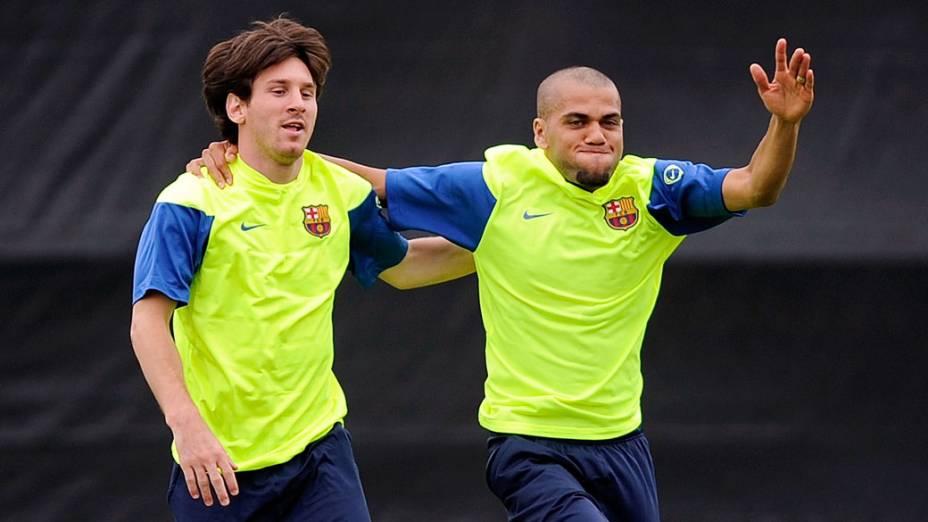 Lionel Messi e Daniel Alves treinam em Los Angeles para amistoso contra o Los Angeles Galaxy durante pré-temporada de 2009