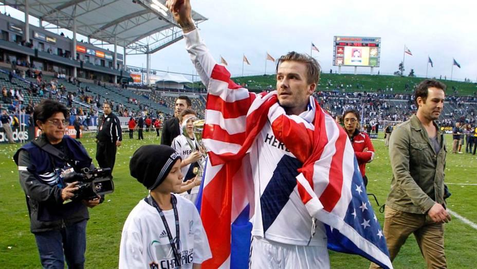 <br><br>  David Beckham se despediu do Los Angeles Galaxy sendo bicampeão da MLS Cup