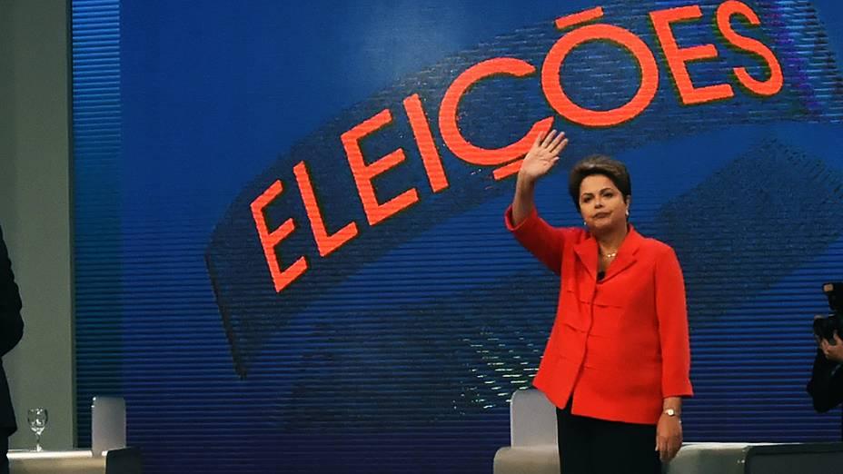 A presidente e candidata à reeleição Dilma Rousseff (PT), durante o último debate do segundo turno promovido pela Rede Globo no Projac, no Rio de Janeiro