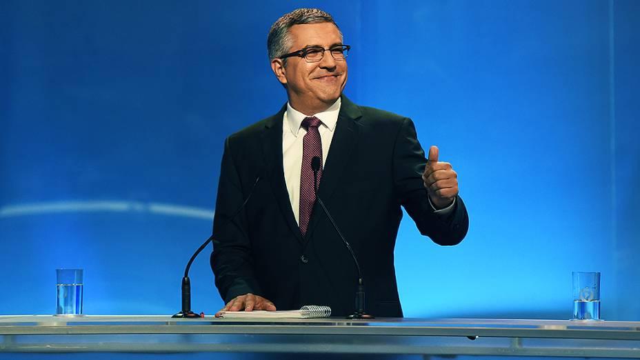O candidato do PT ao governo paulista, Alexandre Padilha, durante o debate entre os candidatos ao governo de São Paulo, promovido pela Rede Record
