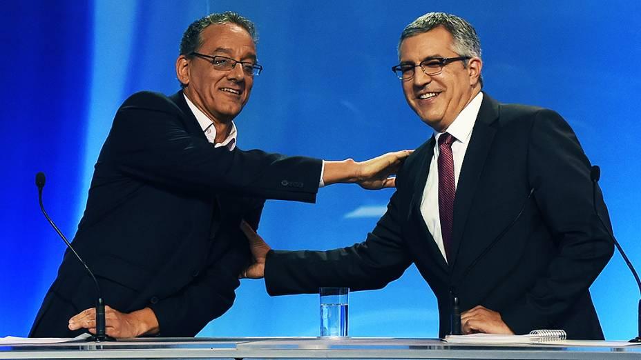 O candidato Gilberto Maringoni durante o debate entre os candidatos ao governo de São Paulo, promovido pela Rede Record