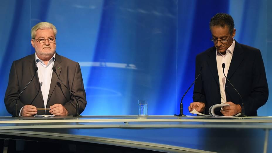 Os candidatos ao governo de São Paulo, Gilberto Natalini e Gilberto Maringoni durante o debate da Rede Record realizado, nesta sexta-feira (26)