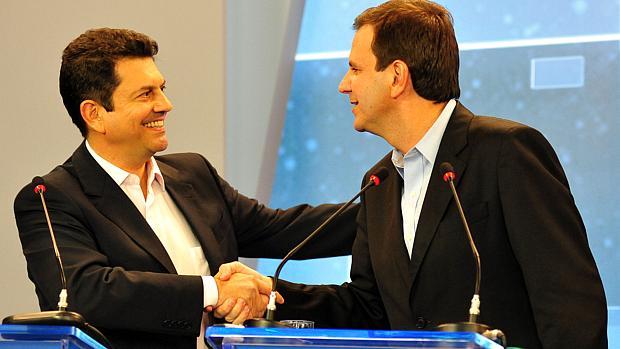Debate no Rio: Paes e Otávio Leite no primeiro encontro entre candidatos na TV