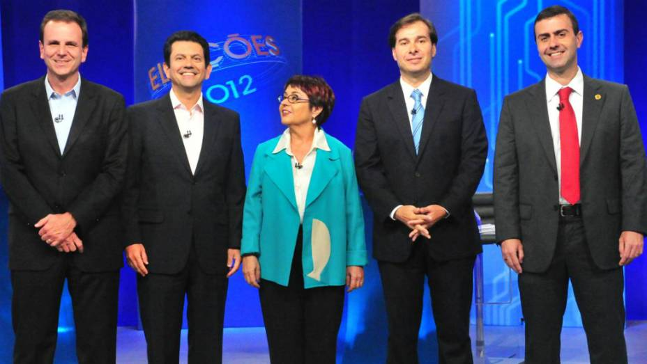 Debate no Rio: Paes, Otávio, Aspásia, Rodrigo e Freixo se encontraram no último debate da TV