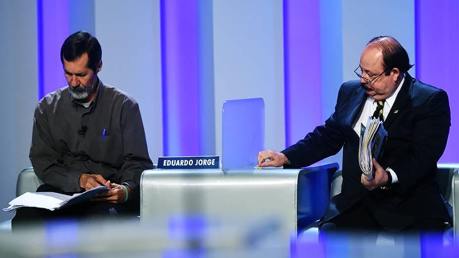 Os candidatos à Presidência da República, Eduardo Jorge (PV) e Levy Fidélix (PRTB), antes do debate promovido pela Globo, no Rio