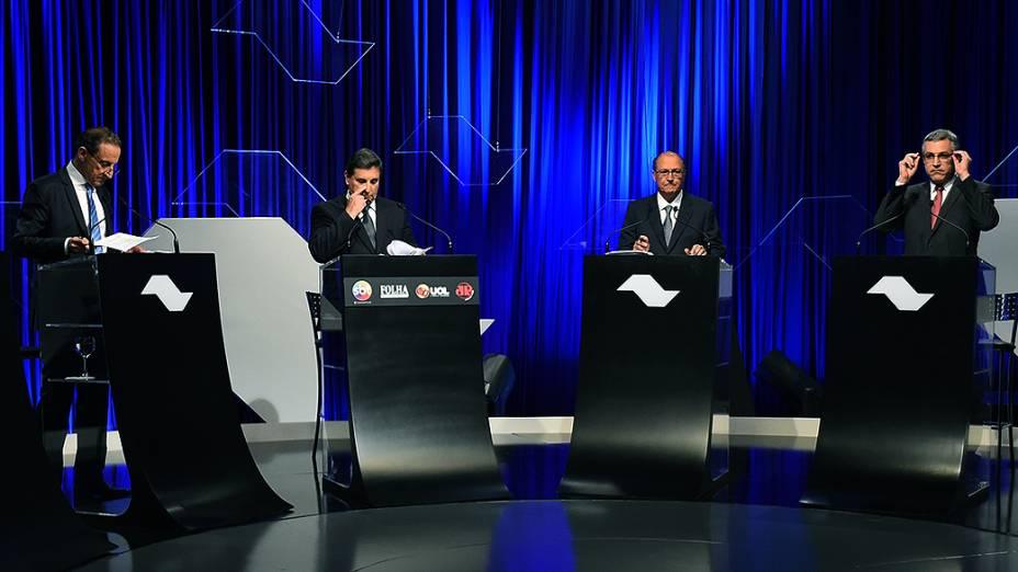 Candidatos ao governo de São Paulo durante debate, em 25/08/2014