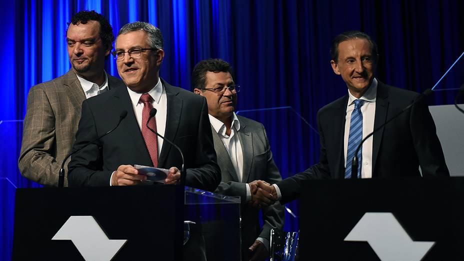 Candidatos ao governo de São Paulo durante debate promovido por SBT, Folha de S. Paulo, UOL e rádio Jovem Pan, em 25/08/2014