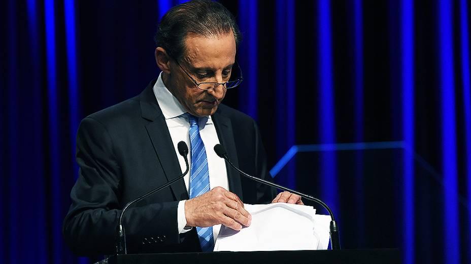 O candidato do PMDB ao governo de São Paulo, Paulo Skaf, durante debate, em 25/08/2014