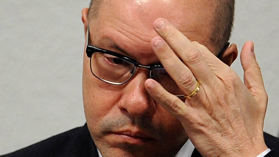 Demóstenes Torres (sem partido, ex-DEM-GO) depõe na manhã desta terça-feira, no Conselho de Ética do Senado, em Brasília, onde responde a processo por quebra de decoro parlamentar