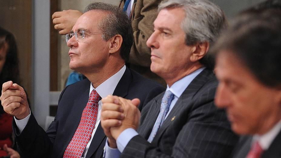 Os senadores Renan Calheiros, Fernando Collor e Eunício Oliveira, durante reunião do Conselho de Ética do Senado