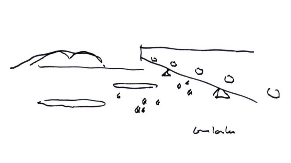 Desenhos do Centro Cultural Le Havre, na França, projeto do arquiteto Oscar Niemeyer