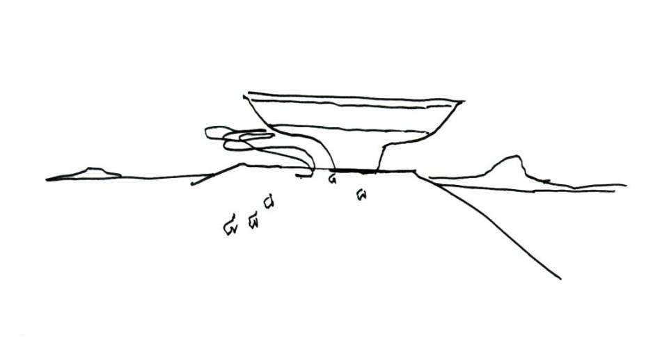 Desenho de Oscar Niemeyer Desenho de Oscar Niemeyer