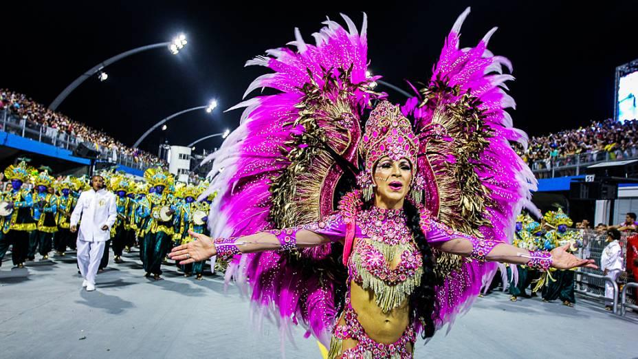 Musa durante desfile da Pérola Negra, em São Paulo